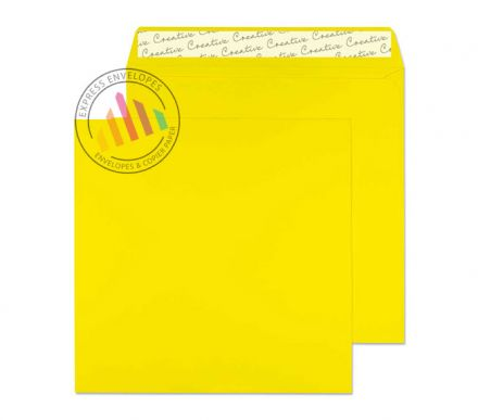 160x160mm - Banana Yellow Envelopes - 120gsm - Non Window - Peel and Seel