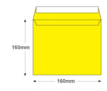 160x160mm - Banana Yellow Envelopes - 120gsm - Non Window - Peel and Seel - image 2