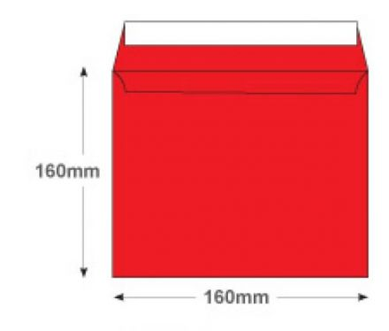 160×160mm - Pillar Box Red Envelopes - 120gsm - Non Window - Peel and Seal - image 2