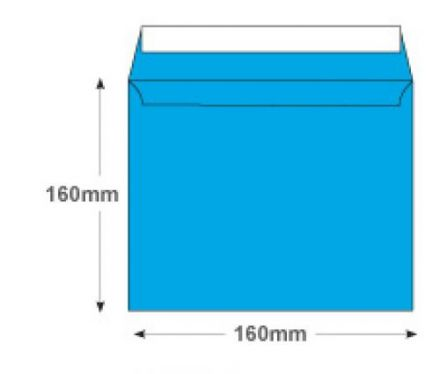 160×160mm - Caribbean Blue Envelopes - 120gsm - Non Window - Peel and Seal - image 2
